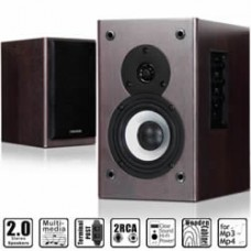 Microlab B-72 Compact Wooden Cabinets Stereo Speaker System 2.0, 24 Watt RMS, Quality woofer and tweeter 2-way sound channels (Brown) B72
